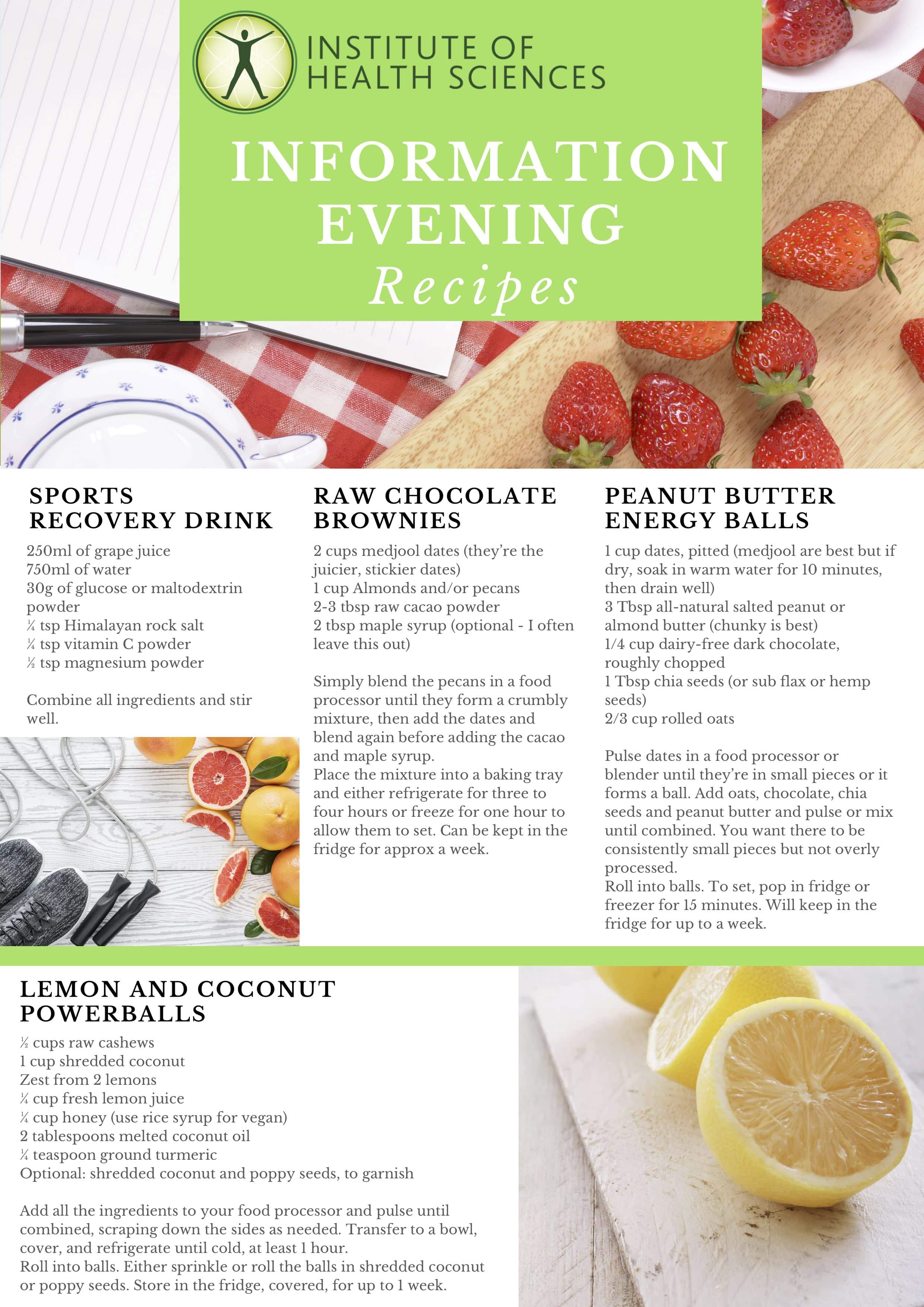 IHS Information Evening Recipes - Nutrition courses, Ireland in
